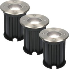 Roestvrijstalen HOFTRONIC 3x Maisy dimbare LED grondspot rond RVS 5W 6000K IP67 straal waterdicht 3 jaar garantie