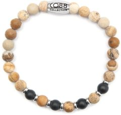 CO88 Collection Elemental 8CB 90035 Rekarmband met Stalen Element - Jaspis en Agaat Natuursteen 6 mm - Maat L - Beige / Zwart
