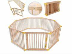 KIDUKU® 7,2 meter veiligheidshek XXL inklapbaar incl. deur, bestaand uit 8 elementen, naar wens te vormen box hek
