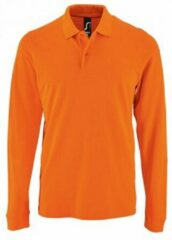 SOLS Heren Perfecte Lange Mouw Pique Polo Shirt (Oranje)