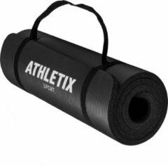 Athletix® Premium NBR Fitnessmat - 183 x 61 x 1 cm - met Draagriem en Draagtas - Zwart