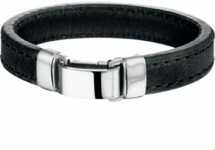 Zilveren The Jewelry Collection For Men Armband Leer 14 mm 22,5 cm - Staal
