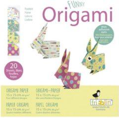 Fridolin Funny Origami: HAAS 15x15cm, 20 bladen met 4 verschillende tekeningen