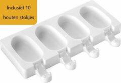 Witte Akyol Magnum mold -siliconen mold magnum -magnum vormpjes - ijsjes vorm - siliconen mal - ijs stokjes - inclusief 10 houten stokjes -magnum vorm silicone - magnum ice mold - tiktok magnum mold -magnums maker -shock mold -shock magnum siliconen bakvo