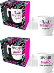Witte Ingifts Mokkenset Think positively/Spread smile