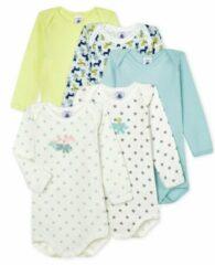 Gele Petit Bateau Set van 5 rompertjes met lange mouwen babyjongen