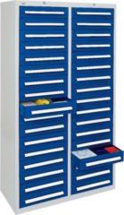 Stumpf Metall Stumpf® ST 420 plus Schubladenschrank mit 34 Schubladen, lichtgrau / blau - 180 x 100 x 50 cm