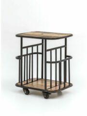 Naturelkleurige Perfecthomeshop Industriële trolley 60x50 cm –Vintage Look – Duurzaam Geproduceerd