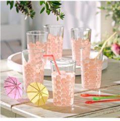 Trinkglas-Set, 6-tlg. miaVILLA klar/rosa