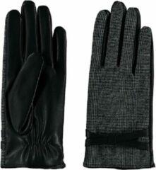 Witte Sarlini fijn gebreide zwarte Dames handschoen met riempje