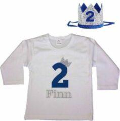 Dottig.com Verjaardagshirt, jongens, 2 jaar, eigen naam, haarkroon, blauw/zilver