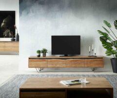 Naturelkleurige DELIFE TV-meubel Stonegrace natuur 220x35x40 cm acacia 4 deuren
