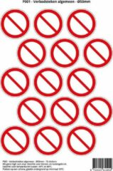 Rode Stickerkoning Pictogram sticker P001 - Verbodsteken - Ø 50mm - 15 stickers op 1 vel