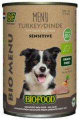 Biofood organic hond kalkoen menu blik hondenvoer 400 gr