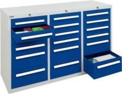 Stumpf Metall Stumpf® ST 420 plus Schubladenschrank mit 18 Schubladen, lichtgrau / blau - 90 x 149 x 50 cm