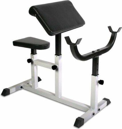 Afbeelding van Witte Merkloos / Sans marque Fitnessbank Biceps Triceps - Lange halterstang - Gewichten - 53.5 kg