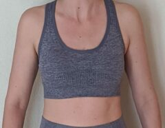 Merkloos / Sans marque Naadloos topje voor fitness, yoga, gym - Blauwgrijs - Maat L