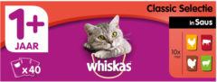 Whiskas multipack pouch adult classic selectie vlees in saus kattenvoer 40x100 gr