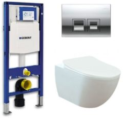 Douche Concurrent Geberit UP 100 toiletset - Inbouw WC Wandcloset - Creavit Mat Wit Rimfree Geberit Delta-50 Glans Chroom