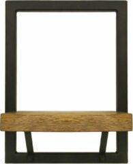 Naturelkleurige HSM Collection Wandplank Levels - 25x32 cm - mangohout/ijzer