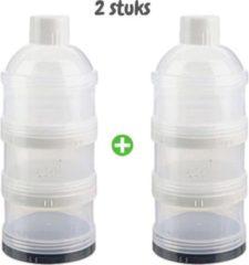 Fop en Bij 2x Poedertoren - Zwart - Melktoren - Melkpoeder bewaarbakjes - Voedingstoren - Poedermelk toren - Melkpoeder reisbox - Poedertoren baby - Melkpoeder toren