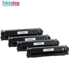 Inktdag huismerk Toner CF530A(HP205A) Zwart , CF531A(205A) Cyaan , CF532A(205A)Geel , CF533A(205A) Magenta (4 stuks) voor Color LaserJet Pro M180n MFP / Color LaserJet Pro M181fw MFP
