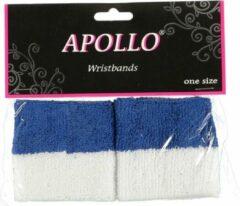 Merkloos / Sans marque Pols zweetbandjes blauw/wit voor volwassenen 2 stuks - Sport accessoires