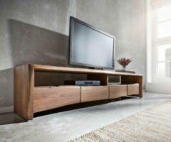 DELIFE TV-tafel Live-Edge Acacia bruin 190 cm 4 laden boomrand Lowboard