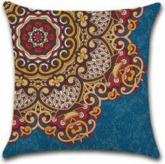 Donkerblauwe By Javy Kussenhoes Marrakech - Blauw & Bordeaux - Kussenhoes - 45x45 cm - Sierkussen - Polyester