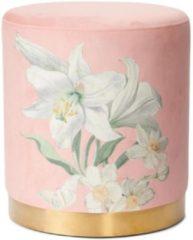 Roze Essenza Rosalee poef met bloemenprint