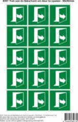 Groene Stickerkoning Pictogram sticker E057 Trek aan de linkerkant om deur te openen - 50x50mm 15 stickers op 1 vel