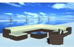 Bruine Vidaxl loungeset voor buiten poly rattan bruin 35-delig