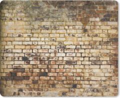 MousePadParadise Muismat Bakstenen muur - Oude bakstenen muur muismat rubber - 23x19 cm - Muismat met foto
