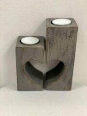 Grijze Woodart Waxine houder hart set 2 15x12 antique grey LOVE MOEDERDAG