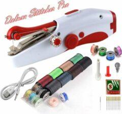 Rode Deluxe Stitcher Pro - PREMIUM Handnaaimachine met USB Kabel + 20 garen met spoelen + 11 Reserve naalden en Accessoires - Mini naaimachine - Compact - Draadloos - Draagbare Hand Naaimachine - Elektrisch of op Batterijen