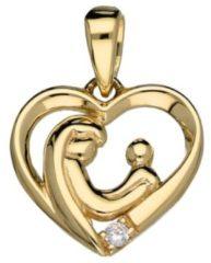 Goudkleurige Classics & More Gouden Familiehanger hart - 14k geelgoud - 1 zirkonia steen - 13 x 13.5 mm