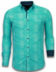 Turquoise Tony Backer E overhemden slim fit