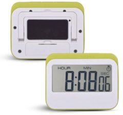 Krumble Digitale Kookwekker - Met digitale klok en alarm - Perfect voor in de keuken met magneet en rubberen stootrand - Wit met groen
