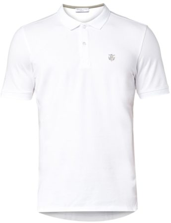 Afbeelding van Witte Selected Homme Men's Daro Short Sleeve Cotton Pique Polo Shirt - Bright White - S