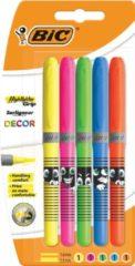 Bic markeerstift Highlighter Grip Décor, blister van 5 stuks in geassorteerde kleuren