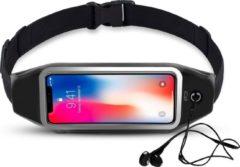 Zwarte Heupband Running Belt iCall – Hardloopband Sportband Riem met Smartphone Houder – Universeel voor alle telefoons onder andere Apple iPhone X / 8 (Plus) / 7 / 6(s) / 5 en Huawei P10 Lite / Mate 10 lite / Sony Xperia XZ