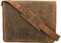 Leather Design The Rat Pack A4 Messenger Schoudertas met Overslag 13'' Butch Bruin