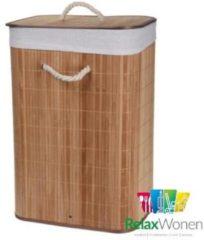 Bruine Relaxwonen - Wasmand - Mand - Bamboe - Opvouwbaar - Inclusief Deksel - Uitneembare binnenhoes - 60x40x30 cm