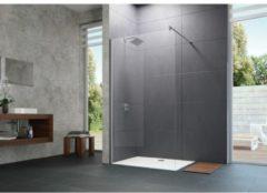 Huppe Design Pure zijwand alleenstaand met dwarssteun 119/121x200cm chroom/helder 8p1109092321