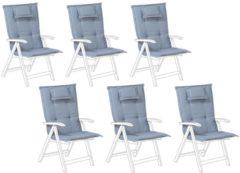 Blauwe Beliani Toscana Stoelkussen Set Van 6 Polyester 45 X 50 Cm
