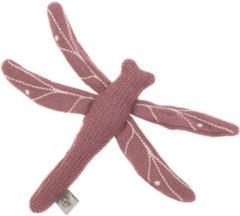 Paarse Lässig gebreid speeltje en knuffel met rammelaar knetter Garden Explorer Dragonfly red