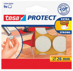 9x Tesa meubelvilt rond wit 2,6 cm - Klusbenodigdheden - Huishouding - Vloerbescherming - Beschermvilt - Meubelvilt - Viltglijders - Anti-kras vilt