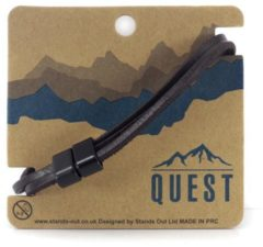 Quest Leren Armband 3 Band Donkerbruin Q24