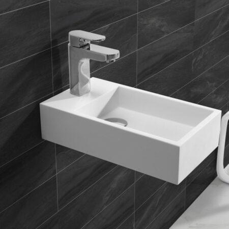 Afbeelding van Douche Concurrent Fontein Toilet Nila - Toiletmeubel Wc Solid Surface - Mat Wit Links 40x22 cm