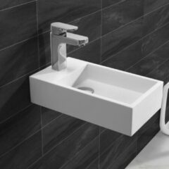 Douche Concurrent Fontein Toilet Nila - Toiletmeubel Wc Solid Surface - Mat Wit Links 40x22 cm